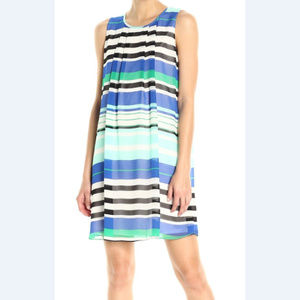 Calvin Klein Blue Stripe Sleeveless Shift Dress